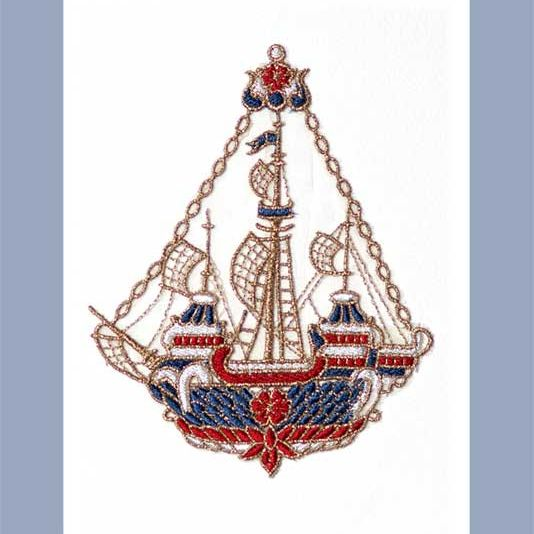 Embroidered card: Admiral's Ship