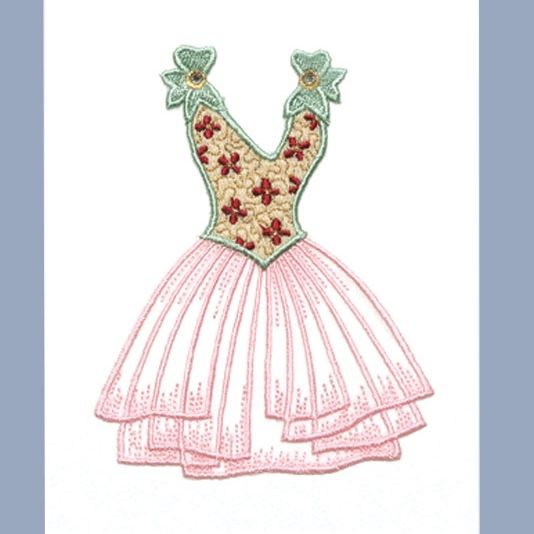 Embroidered card: Diamante Bow Dress