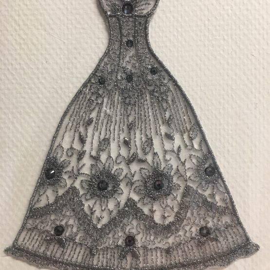 Embroidered card: Belle Evening Dress