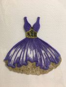 Embroidered card: Amethyst Dress