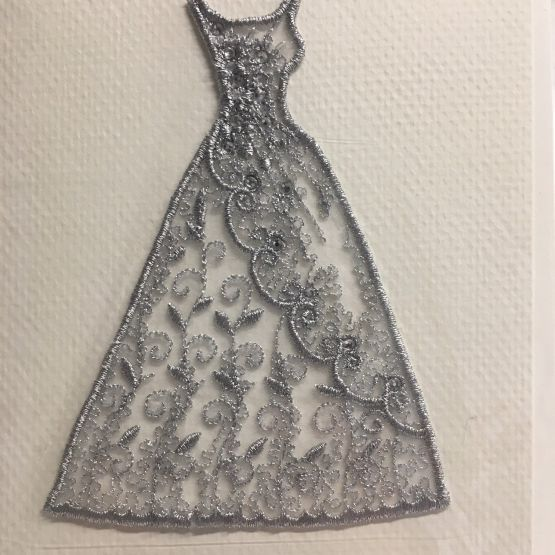 Embroidered card: Silver Diamante Wedding Dress