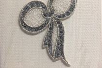 Embroidered card: Diamante Bow