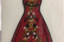 Embroidered card: Red Paloma Dress