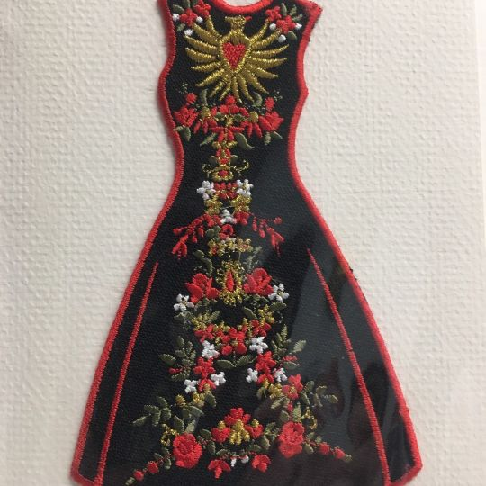 Embroidered card: Paloma Black