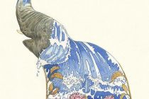 Card (DM Collection): Elephant Squirting Water