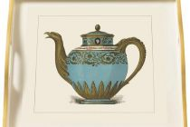 Tray (Small Square): Porcelain Teapot Turquoise on Cream