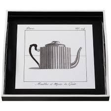 Tray (Small Square): Teapot on Black