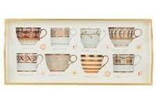 Tray (Sandwich): Antique Cups Gold on White