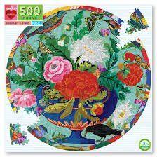 Jigsaw (500 piece circular): Bouquet & Birds