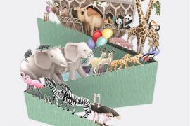 3D POP UP LASER CUT CARD/ NOAH'S ARK ZIG ZAG