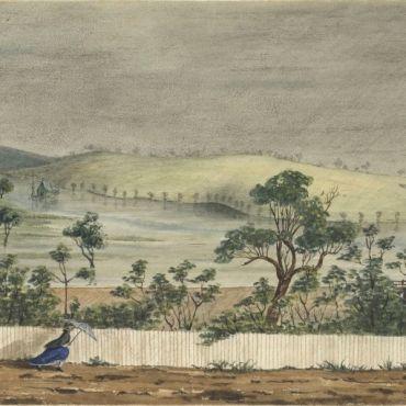 Yarra River in flood 1862