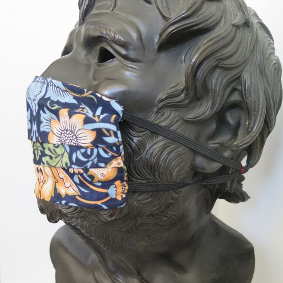 Liberty face mask strawberry thief blue side 1