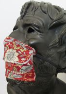 Liberty face mask strawberry thief marigold red 4