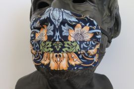 TJC Liberty Face Mask: Strawberry Thief Marigold BLUE