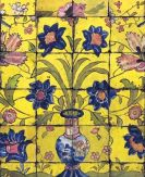 Card (V & A): Panel of Glazed Tiles