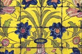 Card (V & A): Panel of Glazed Tiles