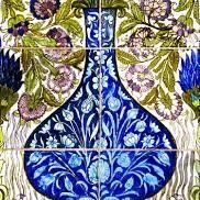 Card (V & A): Blue vase Tile Panel