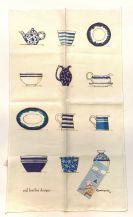 Tea Towel (Red Tractor Designs): Blue Crockery