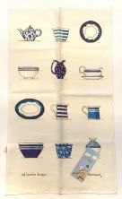 Tea Towel (Red Tractor Designs): Blue Crockery