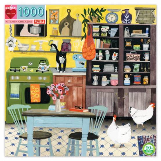 Jigsaw (1000 piece square puzzle): Kitchen Chickens