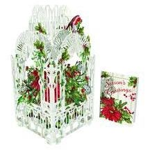 Card (3D Pop up): Christmas - Poinsettia & Robin Cage