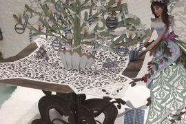 Card (3D Pop up): Christmas - Fairy Tree Table