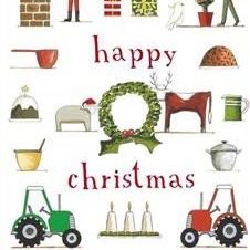 Tea Towel (Red Tractor Designs): Happy  Christmas