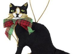 Decoration: Scottish Cat with Tartan Bow