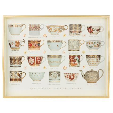 Tray (Large): Antique Cups Gold on White