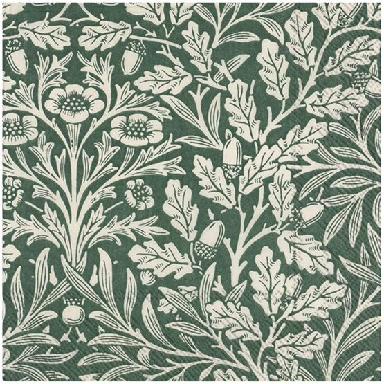 Paper Napkins (Lunch): Acorn (V&A) green linen