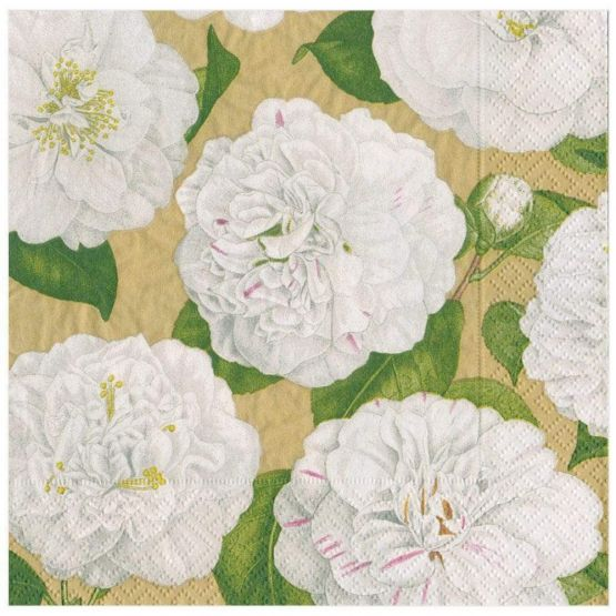 Paper Napkins (Lunch): Camellia Garden gold