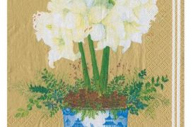 Paper Napkins (Lunch): Potted Amaryllis gold