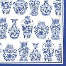 Paper Napkins (Lunch): Blue & White Urns