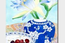 Card (Gabby Malpas): Waterlilies and Cherries