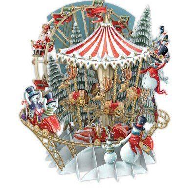 Card (3D Pop up): Christmas - Snow's Carousel