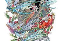 Card (3D Pop up): Christmas - Santa's Dragonflies