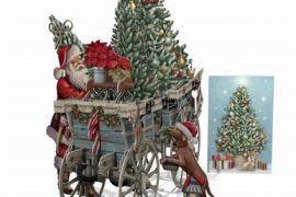 Card (3D Pop up): Christmas - Santa's Wagon