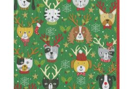 Paper Napkins (Lunch): Christmas - Pets in Antlers -