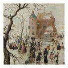 Card (Christmas): Hendrick Avercamp - A Winter Scene with Skaters near a Castle