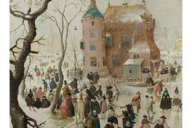 Card (Christmas): Hendrick Avercamp - A Winter Scene with Skaters near a Castle