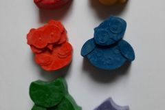 Handmade natural wax crayons: Owls