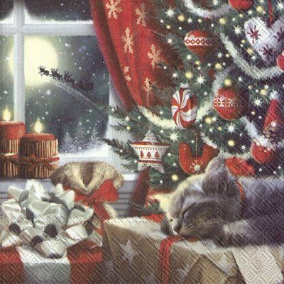 Paper Napkins (Lunch): Christmas - Cat is Waiting for Christmas