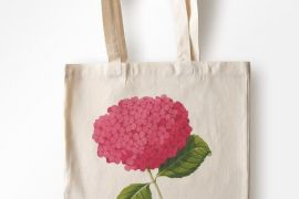Bag (Laura Stoddart): Cotton Shopping Bag  - In Bloom - Pink Hydrangea
