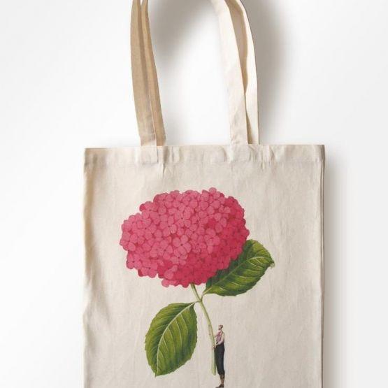 Bag (Laura Stoddart): Cotton Shopping Bag  - In Bloom - Pink Hydrangea
