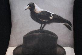 Cushion: Anita Mertzlin - Magpie on Hat