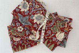 William Morris Fabric Napkins: Strawberry Thief Marigold RED