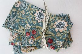 William Morris Fabric Napkins: Strawberry Thief Marigold GREEN