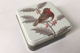 Tin (Thornback and Peel): Small Square Tin Robin & Holly