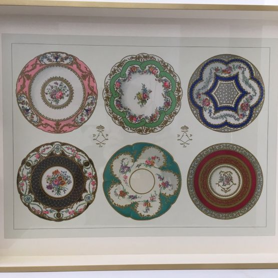 Tray (Large): Porcelain Plates on cream