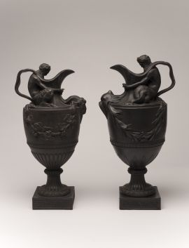 modelled by John Flaxman (English, 1755–1826) after Sigisbert-François Michel (French, 1728 - 1811) Wedgwood potteries (English, est. 1759 - ), Etruria, StaffordshireSacred to Bacchus [wine vase] and Sacred to Neptune [water vase] (pair), England, (modelled), 1776, (made) 1871  The Johnston Collection (A0182-1989, Foundation Collection © Robert Colvin & The Johnston Collection, Australia